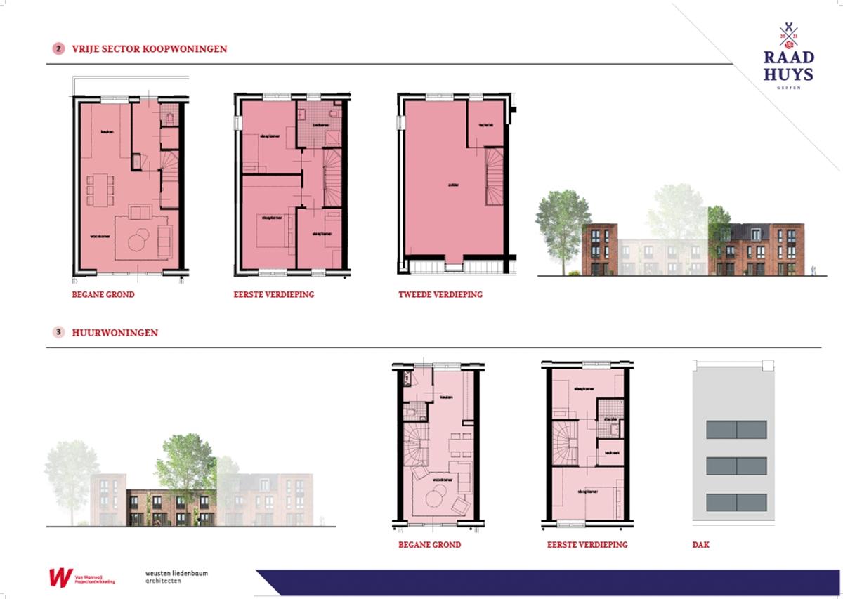 Geffen Raadhuys Panelen plattegronden van de appartementen
