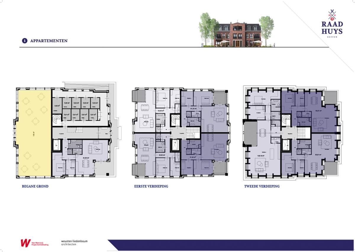 Geffen Raadhuys Panelen plattegronden van de gebouwen
